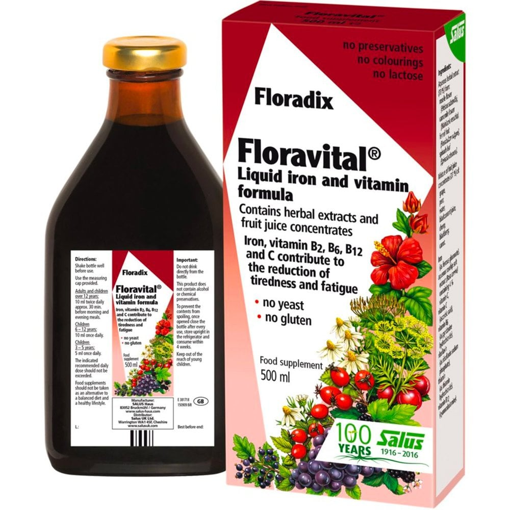 Floradix Floravital Liquid Iron And Vitamin Formula 500ml Wellbeing Free Delivery Justmylook