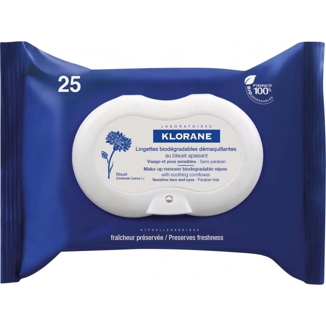 Klorane Makeup Remover Wipes with Cornflower x 25