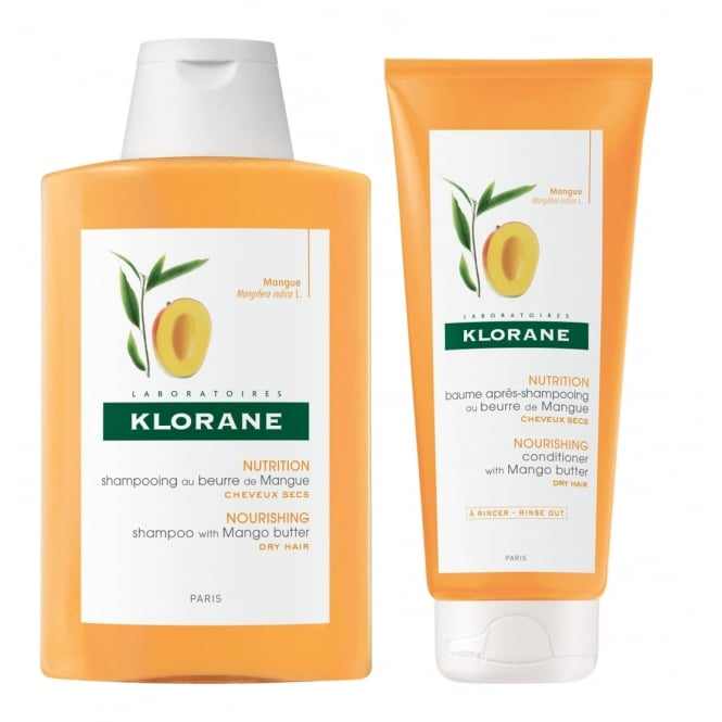 Klorane Mango Butter Nourishing Shampoo & Conditioner 200ml Twin