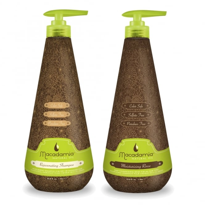 Macadamia Rejuvenating Shampoo 1000ml & Moisturising Rinse Conditioner 1000ml Twin