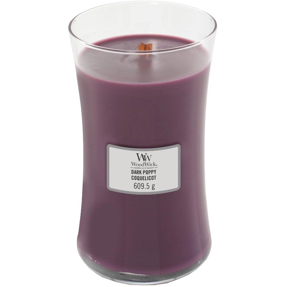 WoodWick Dark Poppy Large Hourglass Jar Candle
