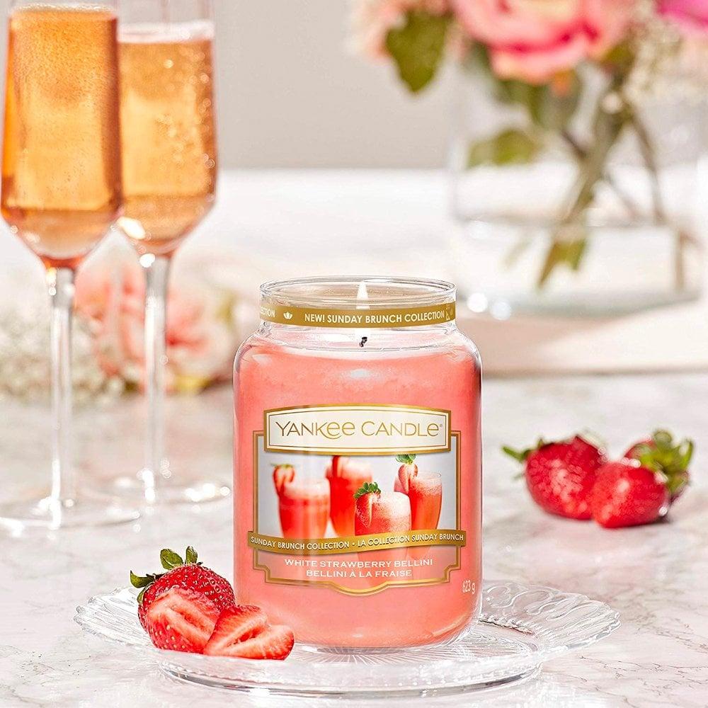 Sunday Brunch Yankee Candle White Strawberry Bellini Large Jar 22oz NEW